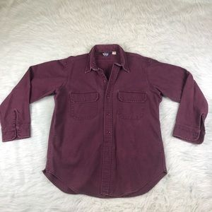 Vintage Woolrich Button Front Purple Shirt L USA